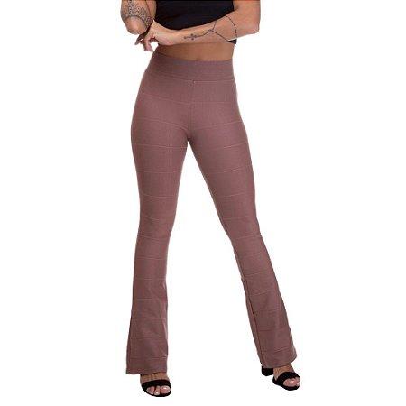 Calça Feminina Cintura Alta Flare Bandagem Chocolate
