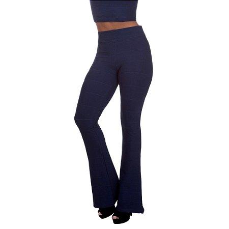 Calça Feminina Cintura Alta Flare Bandagem Azul Marinho