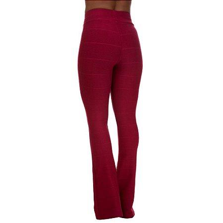 Calça Feminina Cintura Alta Flare Bandagem Vermelho