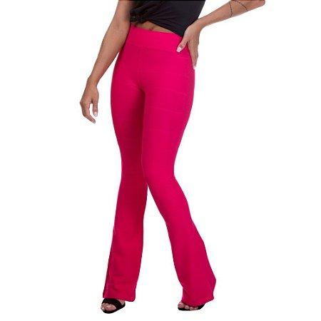 Calça Feminina Cintura Alta Miss Blessed Flare Bandagem Rosa