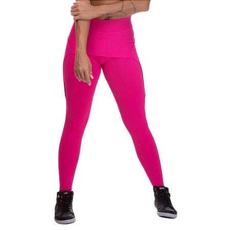 Calça Legging Feminina Com Saia Sobreposta Rosa Escuro
