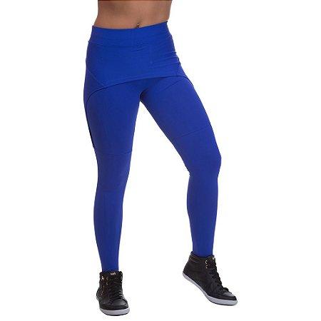 Calça Legging Feminina Miss Blessed Com Saia Sobreposta Azul