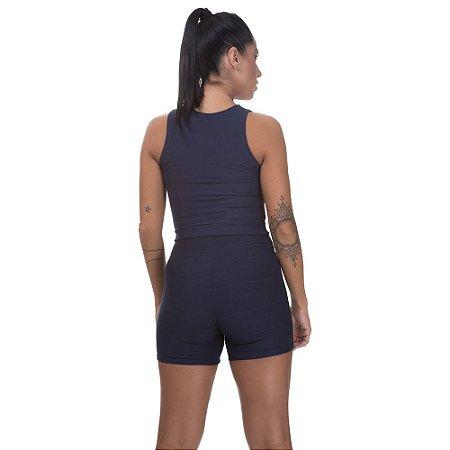 Regata Cropped Feminina Bandagem Azul Marinho