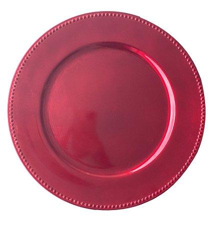 Sousplat Borda Bolinhas Vermelho