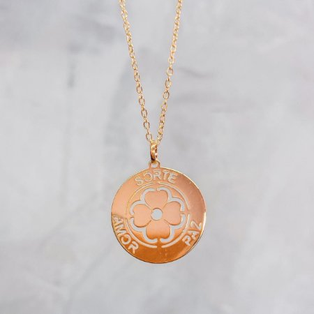 Medalha Sorte Paz Amor Ouro