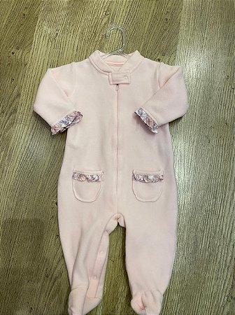 Macacão de Soft Rosa- Tamanho M ( 6- 9 Meses)