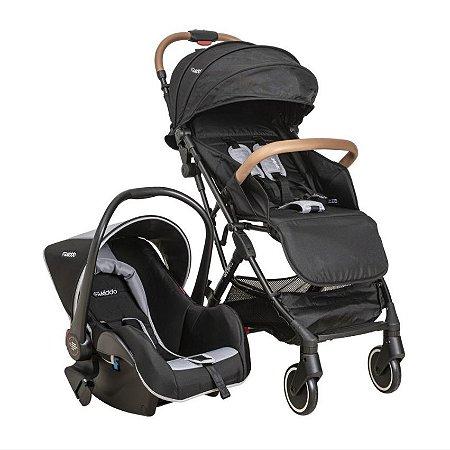 Carrinho de Bebê Kiddo - Sprint Preto com Bebê Conforto Casulo