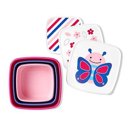 Kit com 3 Porta Snacks Zoo Borboleta - Skip Hop
