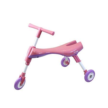 Triciclo Infantil Dobrável Rosa/Lilas - Clingo