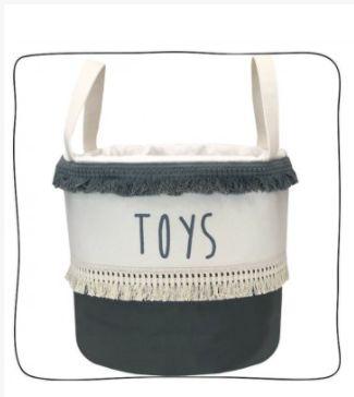 Saco de Brinquedos Franja Cinza