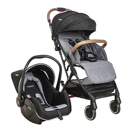 Carrinho de Bebê Kiddo - Sprint Melange Grafite com Bebê Conforto Casulo