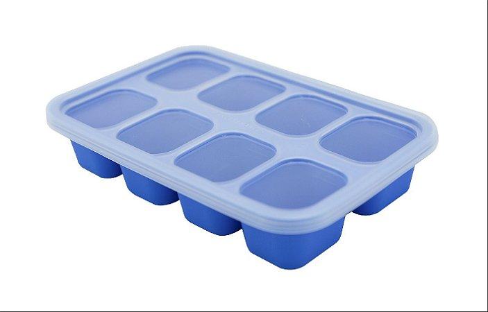Porta Papinha em Silicone com 8 Hipopótamo Azul - Marcus & Marcus