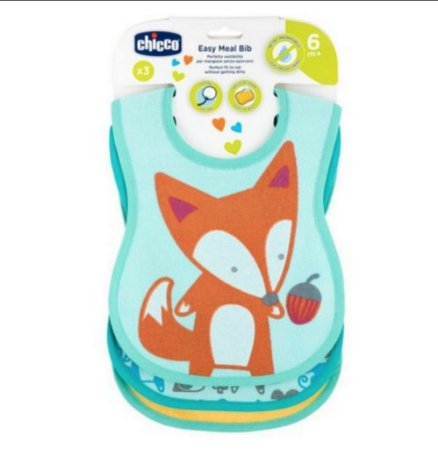 Kit de 3 Babadores Easy Meal Bib Raposa - Chicco
