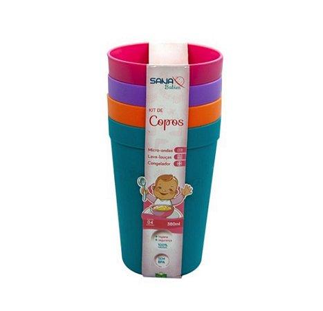 Kit Com 4 Copos 380 Ml Colorido Para Meninas - Sana