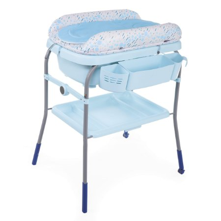 Banheira Com Trocador Cuddle Bubble Dots Azul - Chicco