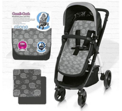 Almofada para Carrinho de Bebê Comfi Cush Dove - Cinza e Preto