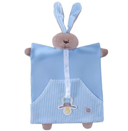 Blanket e Prendedor de Chupeta Coelho Bolso Azul Listrado