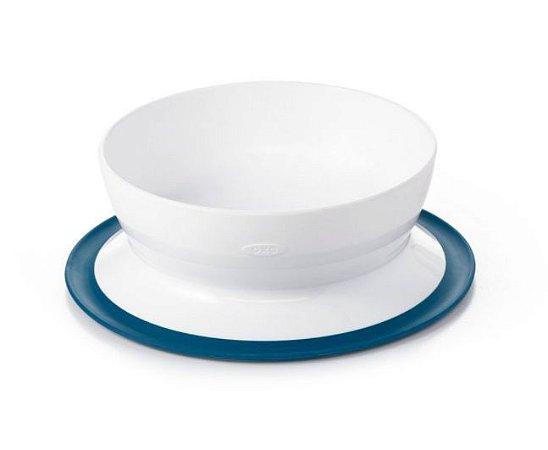 Tigela com Prato Suporte Sucção 400 ml - Branco e Azul Marinho - Oxo Tot