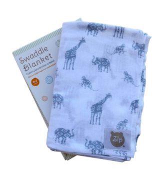 Cueiro Swaddle Blanket animais - Zip