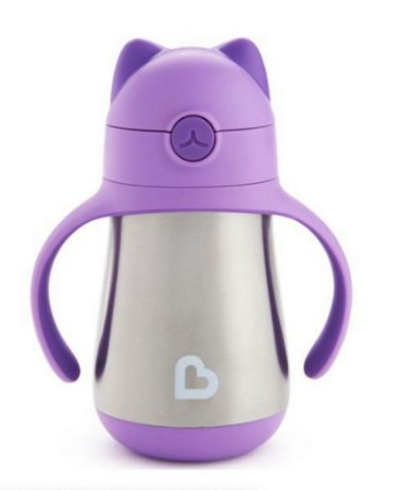 Copo com canudo Cool Cat™ Stainless Steel Munchkin Roxo