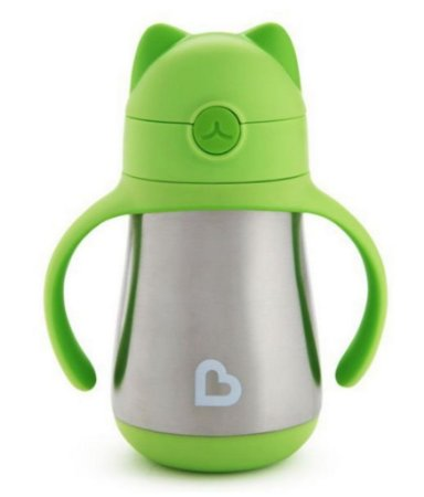 Copo com canudo Cool Cat™ Stainless Steel Munchkin Verde