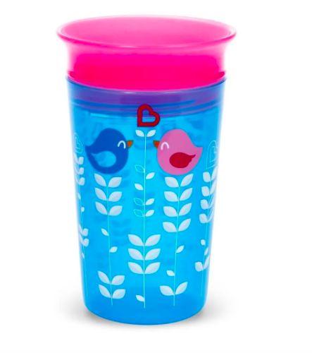 Copo Grande 360  - 266 ml Passarinho Azul / Rosa