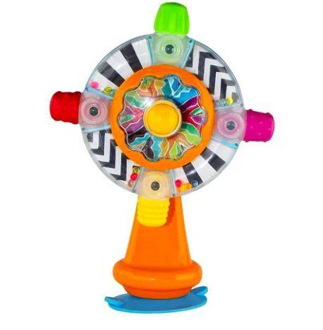 Brinquedo Interativo Roda Giratória com Chocalho e Base com Sucção