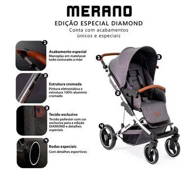 Carrinho de Bebê Travel System Merano Diamante/ Bebe Conforto Black - ABC Design