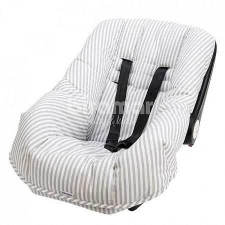 Capa para Bebê Conforto Listrado Cinza - Biramar