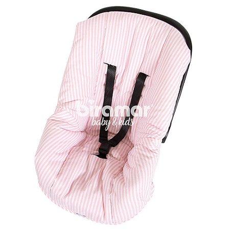 Capa para Bebê Conforto Ajustável Listrado Rosa