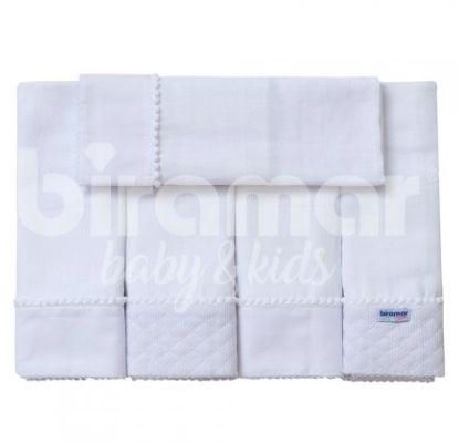 Conjunto 5 Fraldas para Bebê Cremer Luxo Barrado Blanche Matelassado