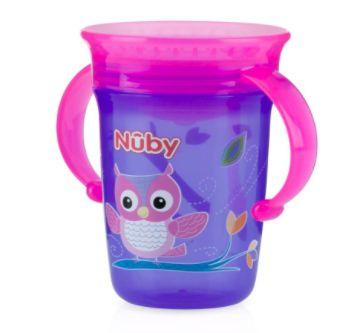 Copo Decorado Com Alça Para Bebê 360º (6m+) - 240ml - Nûby Lilás