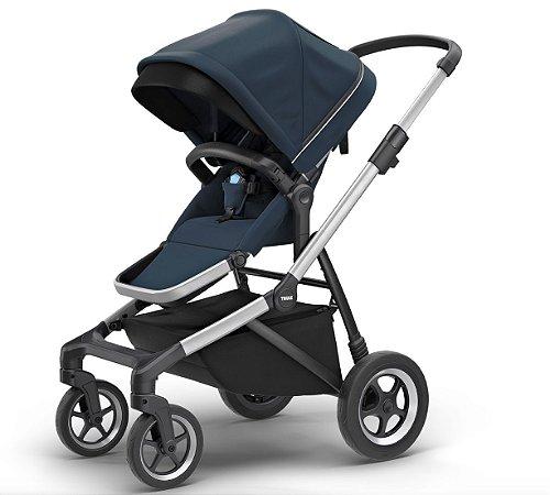 Carrinho de Bebê Thule Sleek - Aluminium and Navy Blue