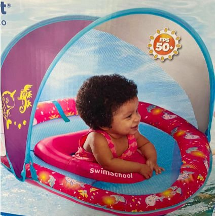 Boia Infantil Baby Boat Cobertura Retrátil Rosa