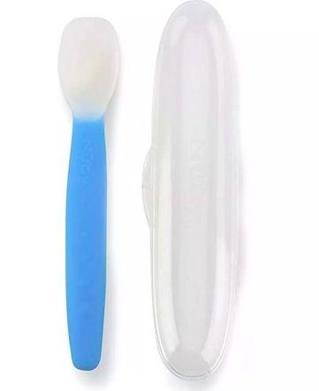Colher em Silicone com Estojo Azul - Nuby