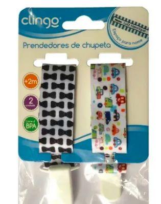 Prendedor de Chupeta Duplo Carrinho + Gravata - Clingo