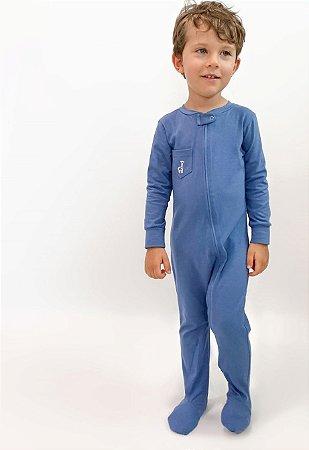 Macacão com Zíper e Pézinho Bolso Azul  Jeans - Welpie