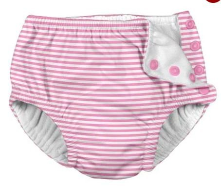 Fraldinha de Banho Calcinha Listras Rosa  (12 - 18 meses + FPS50)
