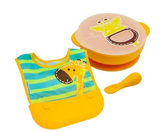 Kit de Alimentação Marcus & Marcus - Girafa Amarelo (Tigela com tampa, babador e colher)