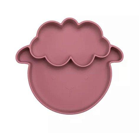 Prato em Silicone  com Sucção Ovelha Rosa Antigo