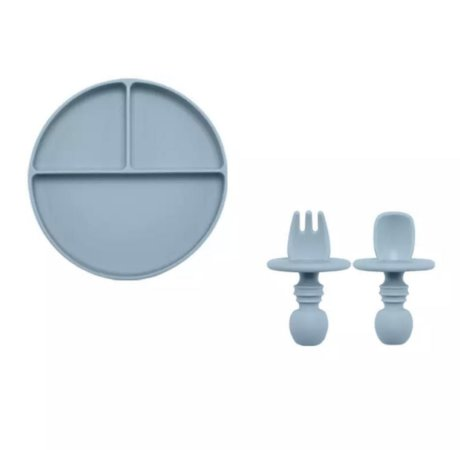 Prato em Silicone com Colher e Garfo Azul