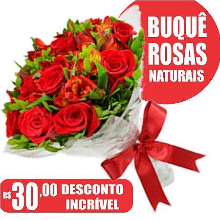 Buquê com 6 Rosas Naturais
