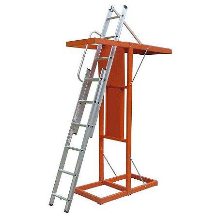 Escada de Alumínio para Sótão 2 Lances - até 2,90 m de Piso a Piso (Alulev)