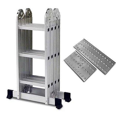 Escada Alumínio Articulada Multifuncional 4x3 - 3,36 m C/ Plataforma (Mor)