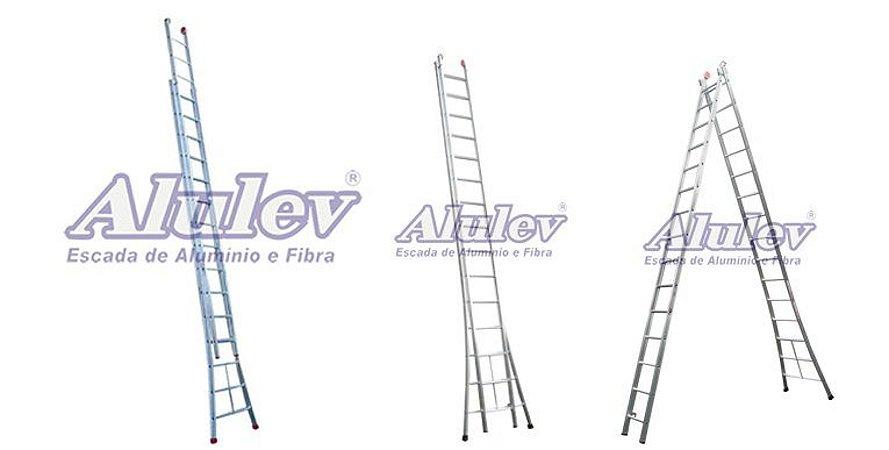 Escada Alumínio Dupla 15 Degraus (Alulev)