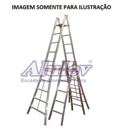 Escada Alumínio Pintor 16 Degraus - 5,10 M (Alulev)