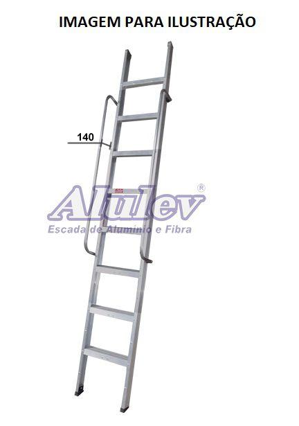 Escada Alumínio Encosto Comercial 08 Degraus - 2,70 m (Alulev)