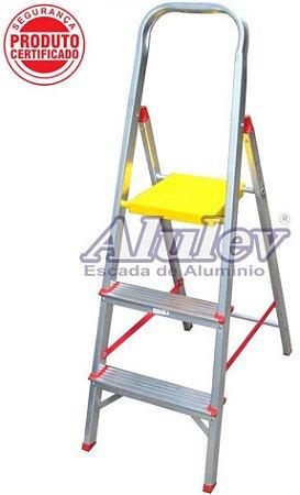 Escada Alumínio Doméstica Residencial 03 Degraus (Alulev)