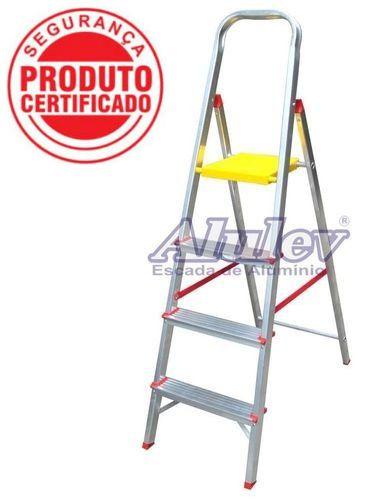 Escada Alumínio Doméstica Residencial 04 Degraus (Alulev)