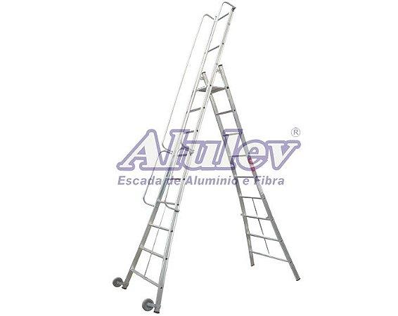 Escada Alumínio Plataforma Móvel 1,14 m - 03+P (Alulev)